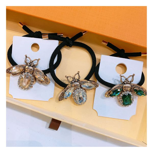 Korean new lady style diamond zircon big bee wild ball head hand-knotted rubber band jewelry hair ring wholesale nihaojewelry NHHD221500