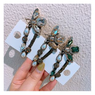 Original designer retro rhinestone zircon wild drop word broken hair bangs clip bee clip jewelry  wholesale nihaojewelry NHHD221506's discount tags