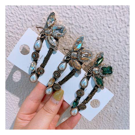 Original designer retro rhinestone zircon wild drop word broken hair bangs clip bee clip jewelry  wholesale nihaojewelry NHHD221506's discount tags