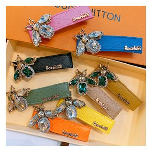Original street shot retro rhinestone bee macaron leather duckbill clip wild duckbill clip jewelry issuance wholesale nihaojewelry NHHD221510's discount tags
