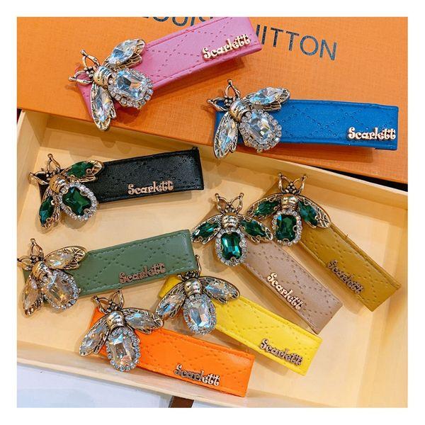 Original street shot retro rhinestone bee macaron leather duckbill clip wild duckbill clip jewelry issuance wholesale nihaojewelry NHHD221510