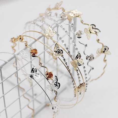 New fashion headband simple metal butterfly double-layer ladies headband life wild alloy hair accessories wholesale nihaojewelry NHWJ221513's discount tags