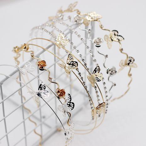 Nouveau bandeau de mode simple métal papillon double couche dames bandeau vie sauvage alliage cheveux accessoires en gros nihaojewelry NHWJ221513's discount tags