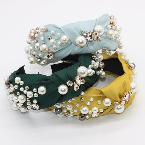 Korean fashion headband pearl hair band cross fabric diamond geometric casual street shooting party ladies hair accessories wholesale nihaojewelry NHWJ221517's discount tags