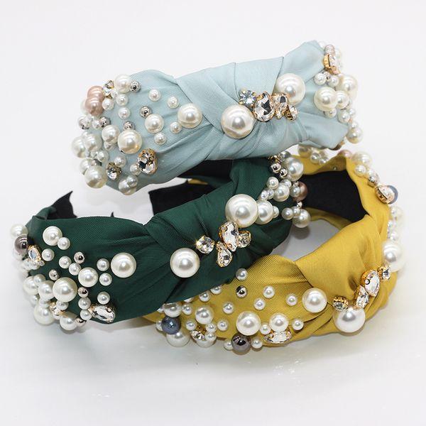 Korean fashion headband pearl hair band cross fabric diamond geometric casual street shooting party ladies hair accessories wholesale nihaojewelry NHWJ221517