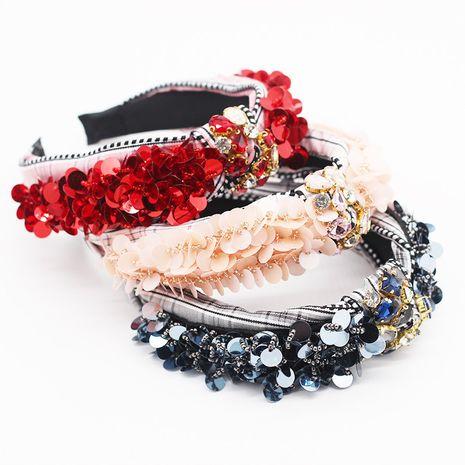 New Korean fashion temperament plaid fabric cross scales personalized diamond headband ladies prom street shot hair accessories wholesale nihaojewelry NHWJ221520's discount tags