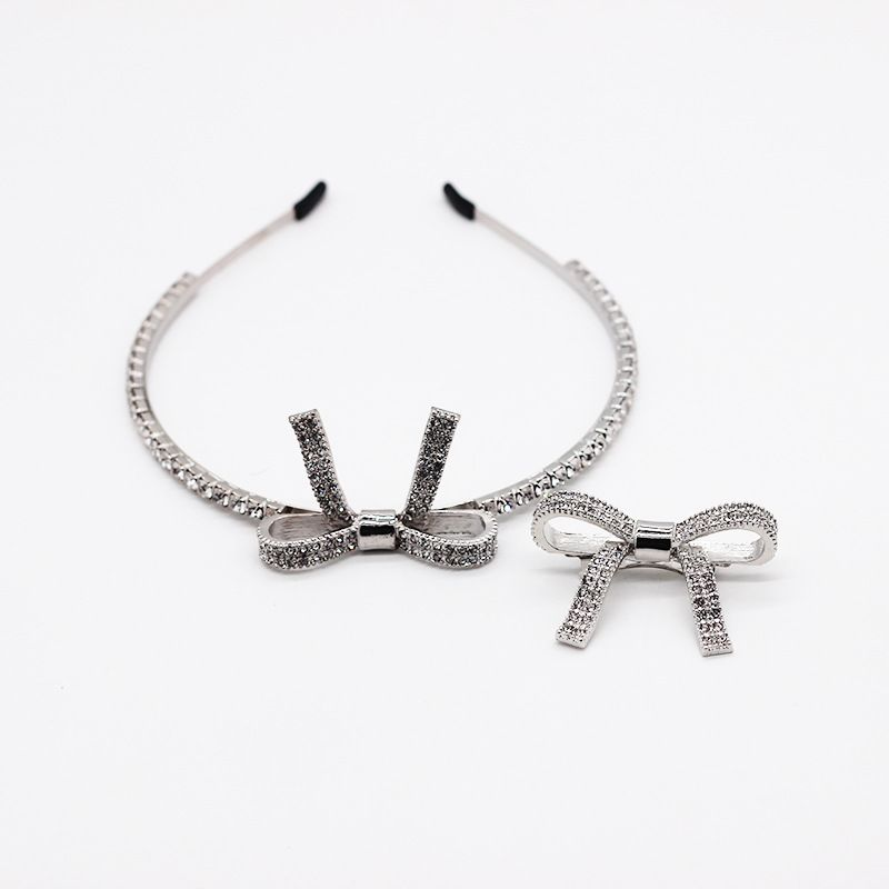 New fashion temperament metal full diamond simple bow hair accessories hair clip personality ladies street shooting gift headband wholesale nihaojewelry NHWJ221521