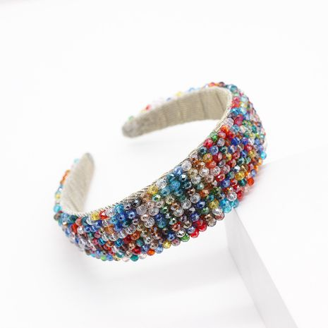 New fashion temperament color rice beads crystal wide-brimmed headband ladies street shooting leisure travel hair accessories wholesale nihaojewelry NHWJ221523's discount tags