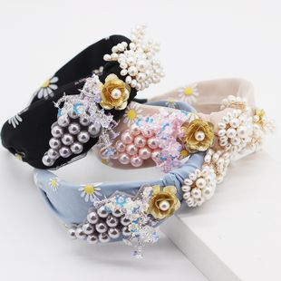 New fashion headband fabric color pearl tassels diamonds ladies hair hoop street dance party hair accessory wholesale nihaojewelry NHWJ221526's discount tags