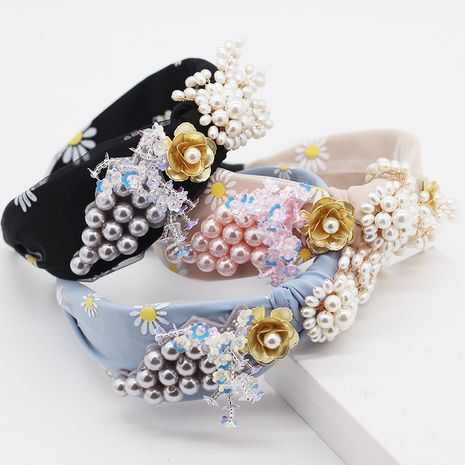 Nouveau mode bandeau tissu couleur perle glands diamants dames cheveux cerceau street dance party accessoire de cheveux en gros nihaojewelry NHWJ221526's discount tags