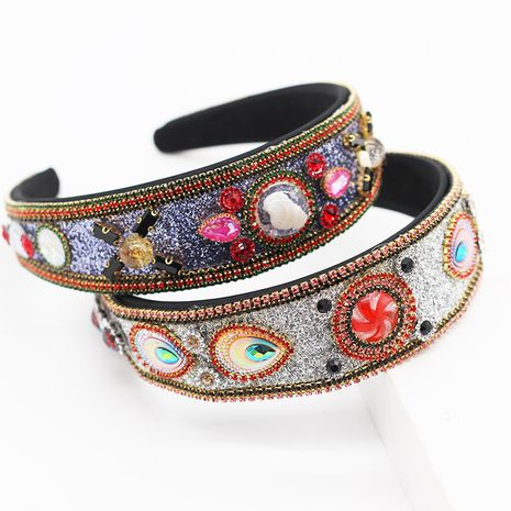 New style full diamond fashion temperament personality wide-brimmed color diamond transparent water drop headband ladies party hair accessories wholesale nihaojewelry NHWJ221530's discount tags