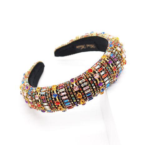 fashion Baroque luxury color diamond-encrusted sponge headband ladies catwalk pro wholesale nihaojewelry NHWJ221532's discount tags