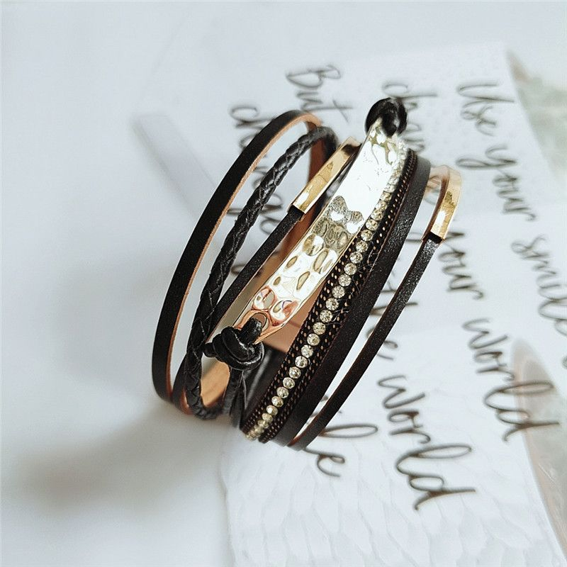 fashion multilayer PU leather bracelet Korean fashion handmade bracelet casual accessories  wholesale nihaojewelry NHVA221538