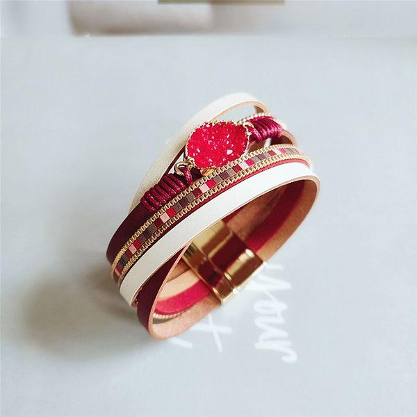 new retro multi-layer PU leather bracelet magnetic buckle bracelet personalized bracelet wholesale nihaojewelry NHVA221546