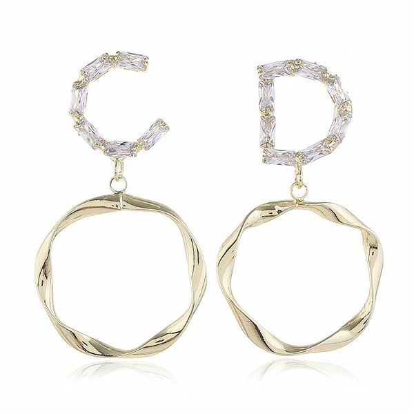 new trend simple fashion ring letter earrings  wild personality temperament earrings  wholesale nihaojewelry NHVA221554