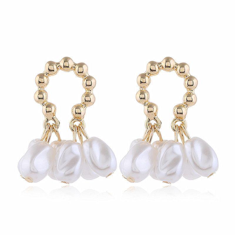 new trendy simple wild pearl earrings temperament fashion earrings  wholesale nihaojewelry NHVA221559