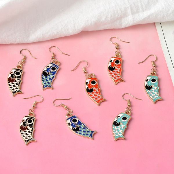 Exquisite carp necklace sweater chain alloy dripping oil ear hanging earrings wholesale nihaojewelry NHBO221584