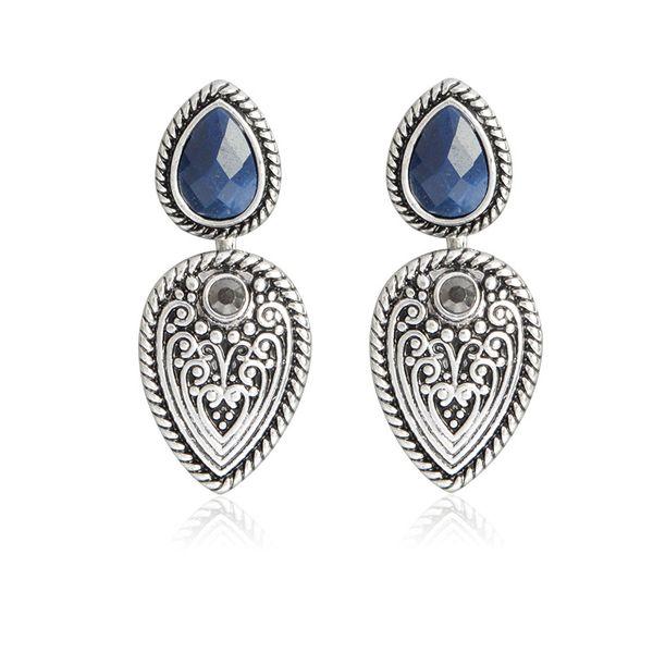 Nuevos productos Retro Gemstones Diamond Tallado Pendientes colgantes delanteros y traseros al por mayor nihaojewelry NHBO221591