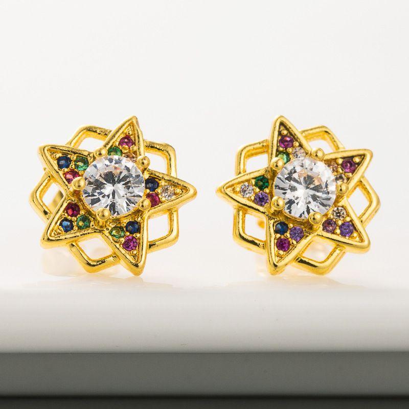 new original design geometric five-pointed star earrings brass micro-set color zircon earrings  wholesale nihaojewelry NHLN221608