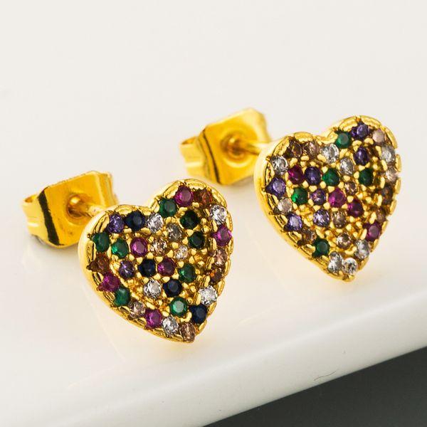 Pendientes arcoiris chapados en cobre chapado en oro real microconjunto aretes de gemas de colores aretes en forma de corazón al por mayor nihaojewelry NHLN221610