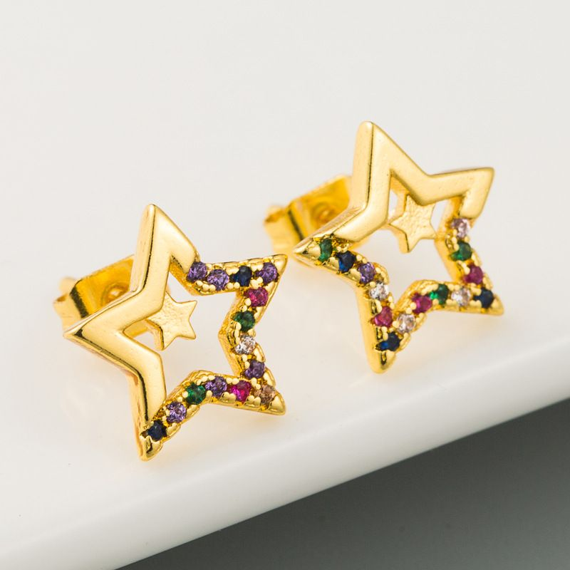 fashion exquisite hollow pentagram earrings copper micro-set color zircon color-preserving electroplating earrings  wholesale nihaojewelry NHLN221613