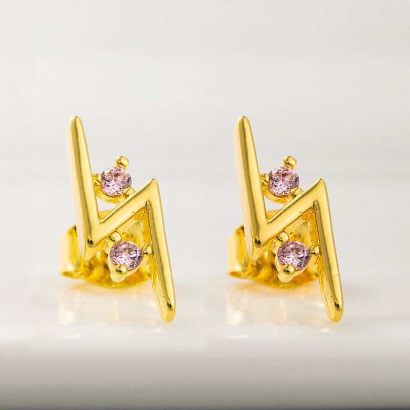 personality exaggerated lightning geometric temperament earrings copper plated true gold micro-set color zircon earrings  wholesale nihaojewelry NHLN221614