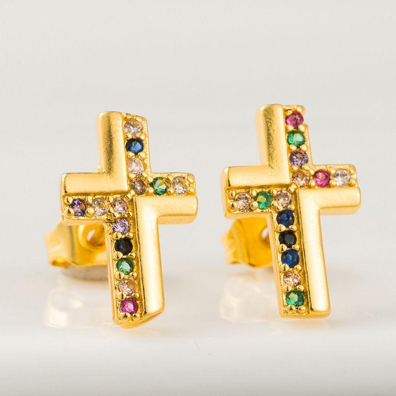 personality retro cross earrings brass plated 18K gold micro-set zircon rainbow series earrings wholesale nihaojewelry NHLN221617