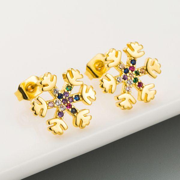 lindos y hermosos aretes de hielo salvaje serie arco iris cobre micro-set aretes de circón de color al por mayor nihaojewelry NHLN221619