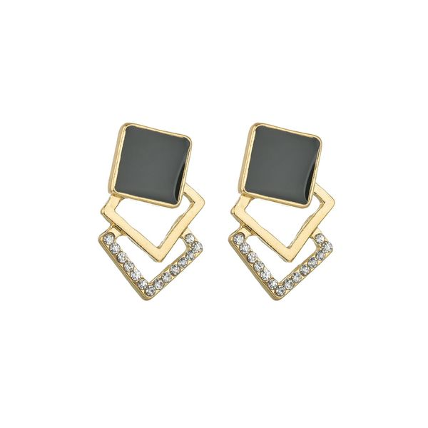 explosion models hypoallergenic silver needle geometric stitching square rhinestone earrings femininity silver needle ears  wholesale nihaojewelry NHBQ221638