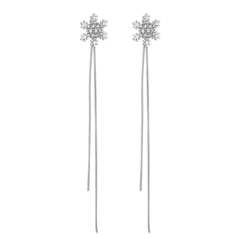 Korean temperament long jewelry simple micro diamond drill earrings sterling silver needle long tassel hypoallergenic earrings  wholesale nihaojewelry NHBQ221640