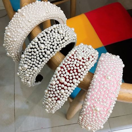 best selling sponge headband pearl hair bands luxury high-end fashion hairpin hair headband ladies wholesale nihaojewelry NHUX221657's discount tags
