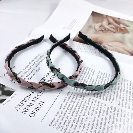 Korean headband fashion fine-edged handmade braids with diamond headband high-end luxury rhinestone headband exquisite super flash hair accessories wholesale nihaojewelry NHUX221670's discount tags