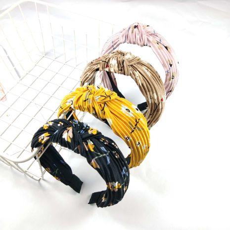 impression bandeau rides noeud en épingle à cheveux haut de gamme à large bord tissu à sertir cheveux accessoires mode boucle de tête cerceau de cheveux en gros nihaojewelry NHUX221680's discount tags