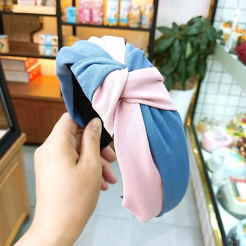 South Korea's new fabric retro color hit headband solid color fight color knot hairpin high-end wide-brimmed simple hair accessories wholesale nihaojewelry NHUX221681