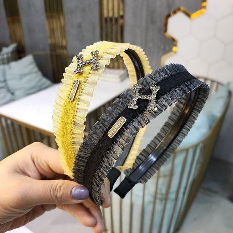 Bandeau coréen mode bandeau délicat en dentelle délicate haut de gamme en alliage de strass raffiné en épingle à cheveux super flash tempérament bandeau en gros nihaojewelry NHUX221693's discount tags