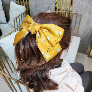 Korean fashion the new small floral bow hairpin high-end fabric simple and small fresh hairpin wide-sided super fairy clip wholesale nihaojewelry NHUX221699's discount tags