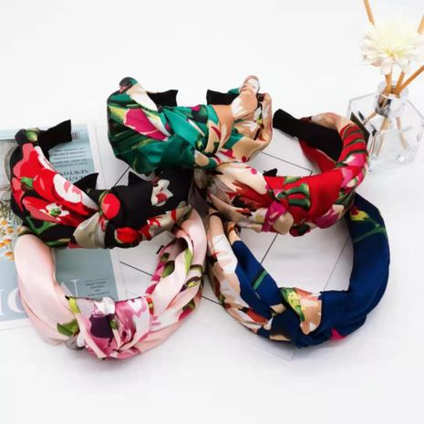 Korean fashion best selling geranium print headband satin fabric knotted hairpin simple wide-brimmed knot headband wholesale nihaojewelry NHUX221700's discount tags