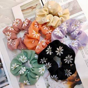Korean fashion new chiffon small daisy large intestine ring candy color ponytail rubber band hair rope wide-brimmed fabric hair ring wholesale nihaojewelry NHUX221706's discount tags