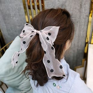 Korean fashion new super fairy streamer hair ring retro wave point organza hair rope wide-side bow tie horsetail rubber band wholesale nihaojewelry NHUX221712's discount tags