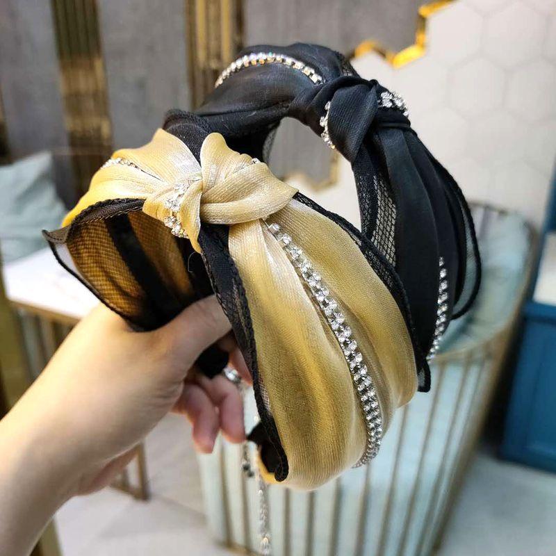 Korean fashion new  exquisite luxury rhinestone knotted headband simple  super fairy mesh headband nihaojewelry wholesale NHUX221719