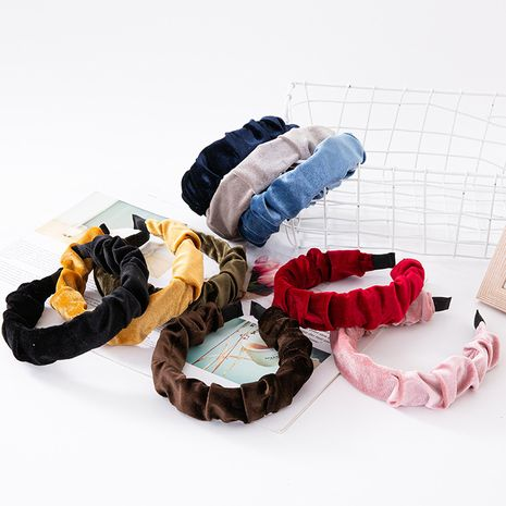 hot sale new gold velvet fold headband high-end wide-brimmed plastic hairpin cross-border pressure headband hair accessories wholesale nihaojewelry NHUX221757's discount tags