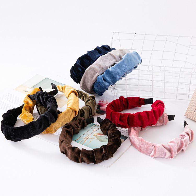 hot sale new gold velvet fold headband high-end wide-brimmed plastic hairpin cross-border pressure headband hair accessories wholesale nihaojewelry NHUX221757