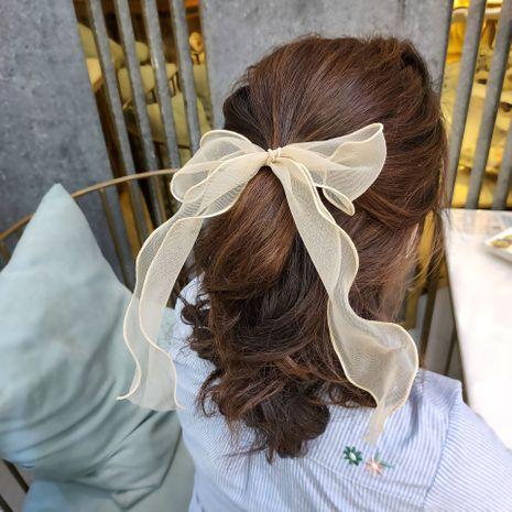 Mode coréenne nouvelle super fée streamer cheveux anneau de mode mode à large bord organza cheveux corde solide couleur noeud papillon prêle bande de caoutchouc en gros nihaojewelry NHUX221762's discount tags
