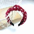 NHUX707878-Burgundy-polka-dot-pleated-knot-headband