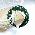 NHUX707882-Dark-green-dotted-pleated-knotted-headband