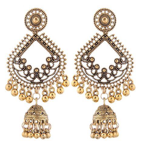 new retro texture bohemian clan wind bell tassel drop spike temperament earrings wholesale nihaojewelry NHSC222304's discount tags