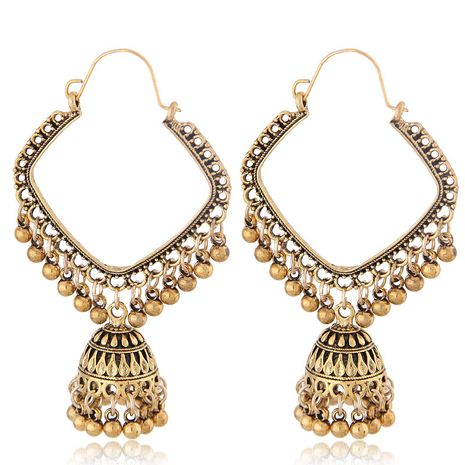 new retro texture Bohemian earrings simple square bell drop spike temperament earrings wholesale nihaojewelry NHSC222302's discount tags