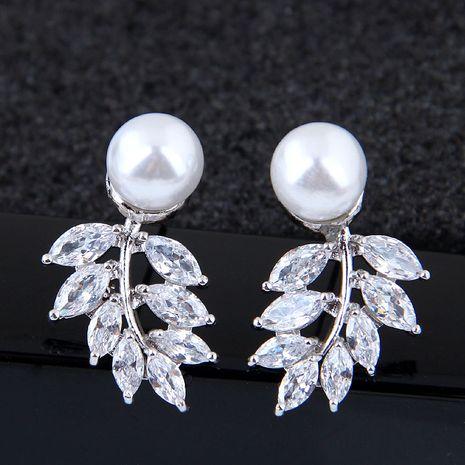 Exquise mode coréenne douce incrustée de zircon branche et feuille boucles d'oreilles en gros nihaojewelry NHSC227554's discount tags
