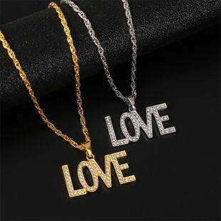 fashion  trend Culture Hip Hop  diamond   LOVE Letter Hip Hop Necklace  nihaojewelry wholesale NHLA227161's discount tags