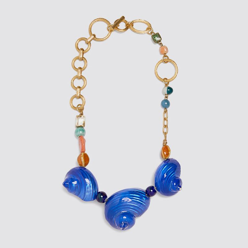 fashion Bohemian exaggerated natural blue conch necklace  nihaojewelry wholesale NHLA227169